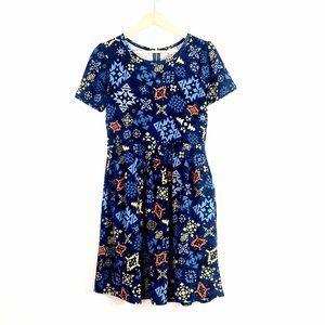 LuLaRoe // Amelia Blue Graphic Short Sleeve Dress